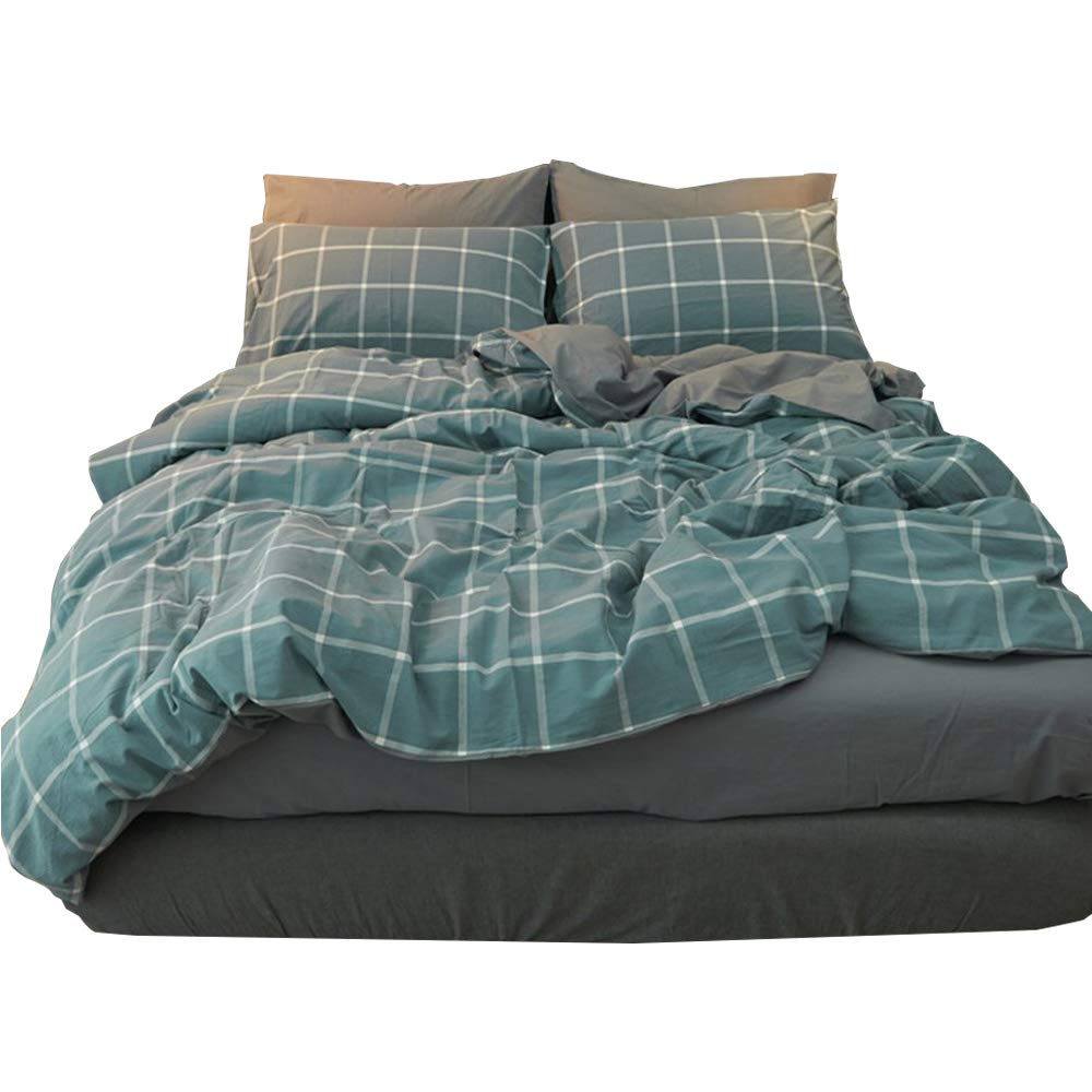 Blue Plaid Bedding Set Solid Reversible Duvet Cover Set Queen 3 Pieces Natural Washed Cotton Duvet Cover Set Hotel Luxury Winter Comforter Cover Set, Relaxed Soft Cozy Feel Natural Wrinkled Look