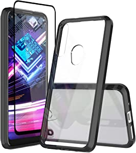 Sucnakp Moto G Fast Case Motorola G Fast Case with Screen Protector Premium Clear Back Panel + TPU Bumper Case for Motorola Moto G Fast(YKL Black)