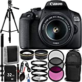 "Canon EOS 1500D/Rebel T7 w/ 18-55mm Lens and 13pc Accessory Bundle – Includes 32GB SD Memory Card + Sling Backpack + 72"" Professional Tripod + 72"" Monopod + MORE - International Version (No Warranty)"