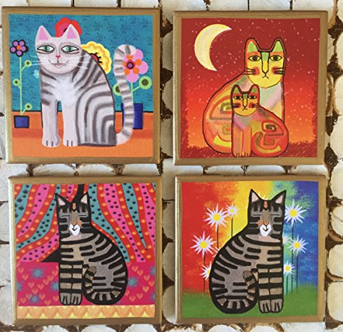 Coasters! Whimsical cat coasters with gold trim