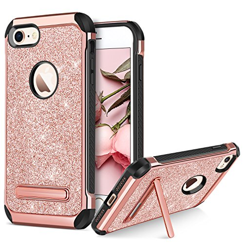BENTOBEN Case for iPhone 8/iPhone 7, Sparkly Glitter Luxury 2 in 1 Slim Hybrid Hard PC Cover Shockproof Protective Case with Kickstand for Girls, Women for iPhone 7/8 - Rose Gold