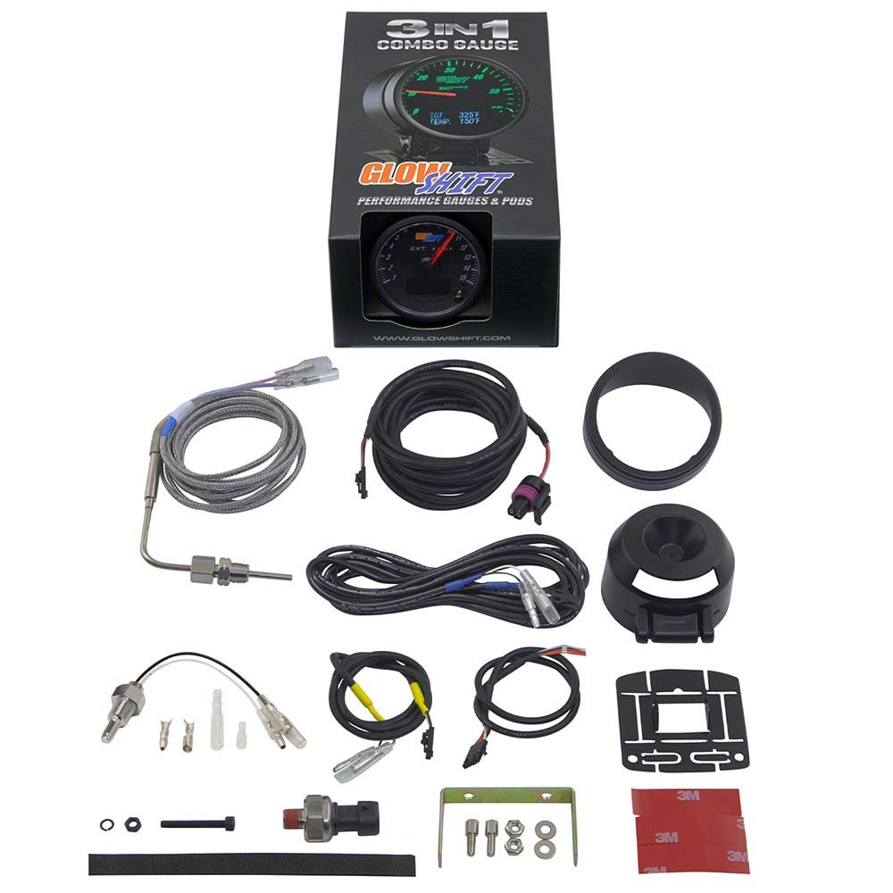 GlowShift 3in1 Analog 1500 F Pyrometer Exhaust Gas Temp EGT Gauge Kit with Digital 60 PSI Boost & 300 F Temperature Readings - 10 Selectable LED Colors - Black Dial - Clear Lens - 2-3/8'' 60mm by GlowShift (Image #9)