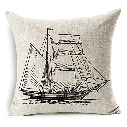 Mad Linen - Ou Mad Cotton Linen Pillow Cover Antique Boat Cushion Cover-throw Pillow Cover