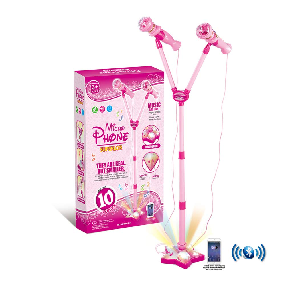 OceanEC Kids Bluetooth Karaoke Machine, Kids Karaoke Music Toy Play Set with 2 Microphones and Adjustable Stand LED Light (2 Microphones Pink) by OceanEC (Image #1)