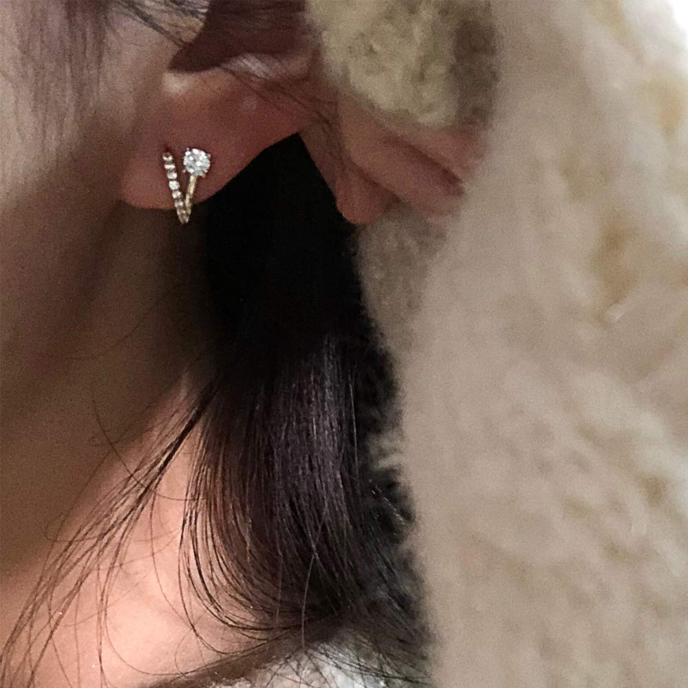 Dainty CZ Cubic Zirconia Stud Earrings/Birthday Gifts Fomissky C Shaped Small Hoop Earrings for Women Teen Girls Gold Plated