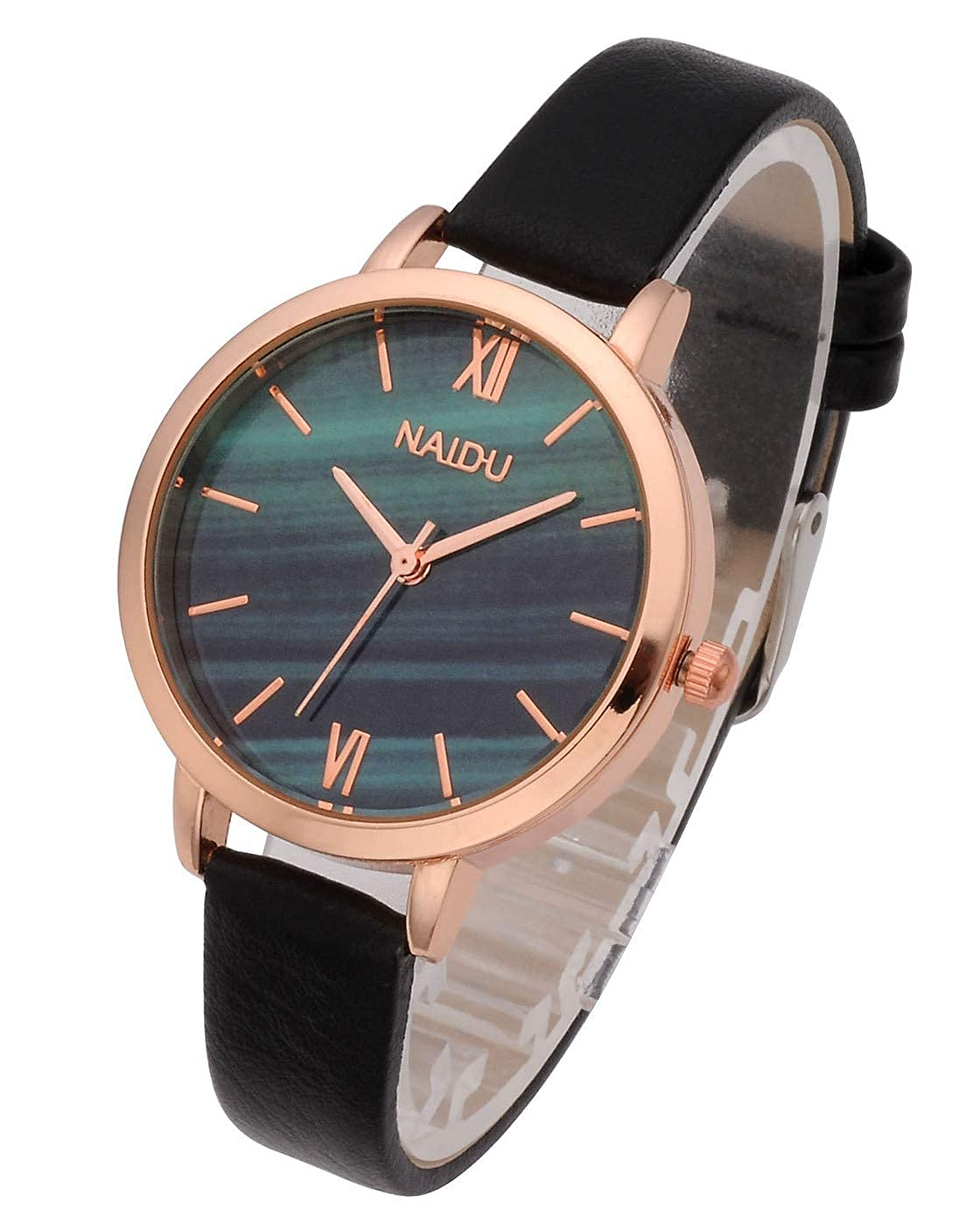 Amazon.com: Top Plaza Women Girls Thin Leather Wrist Watch Fashion Unique Rose Gold Case Marbled Roman Numerals Dial Analog Quartz Watches Blue Gray Dial: ...
