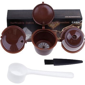 Cápsulas de café reutilizables - Lictin Dolce Gusto Cápsula - Cápsula de repuesto para cafeteras Circolo, Genio, Mini Me, Mini, Piccolo, Esperta marrón ...