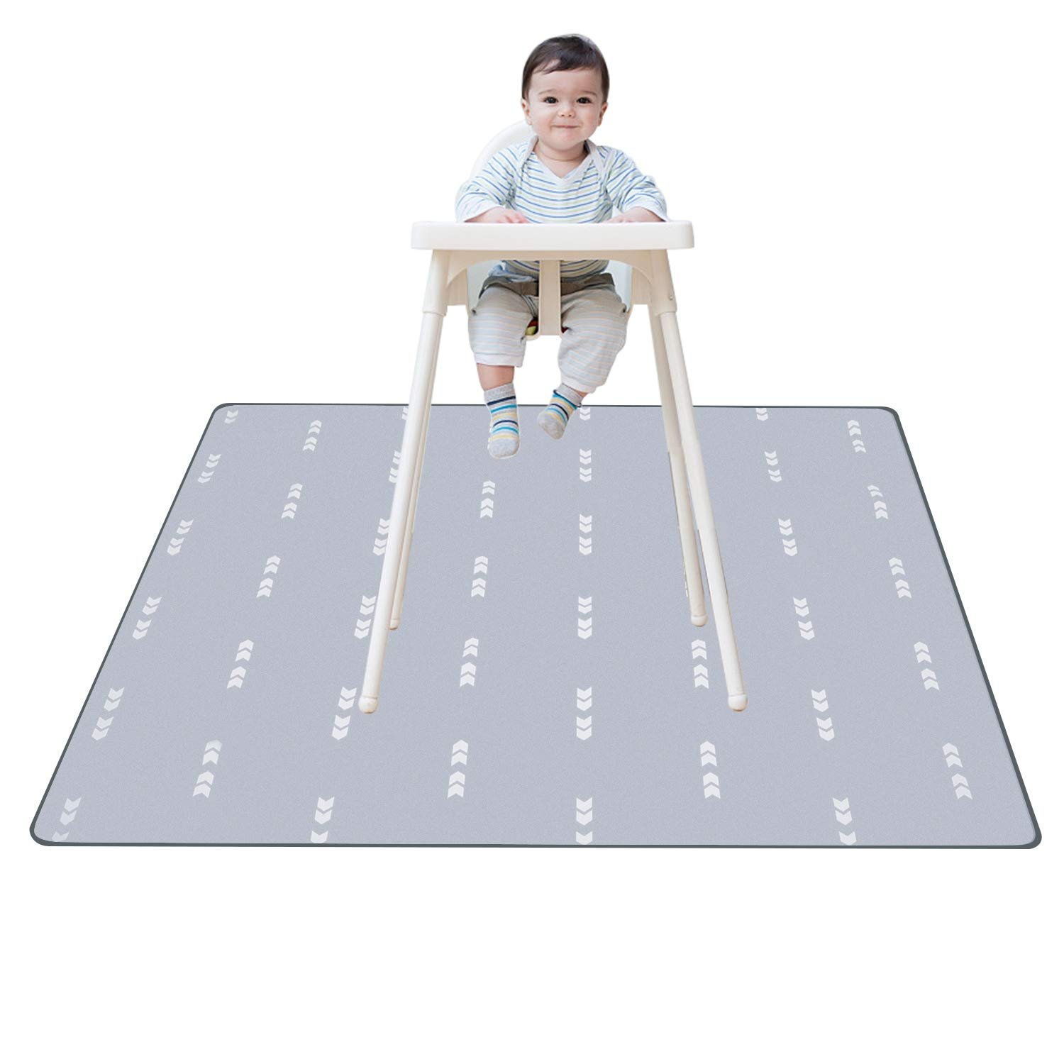 Splat Mat for Under High Chair Floor Mat Baby Waterproof Anti-Slip Splash Mess Mat Portable Play Mat and Table Cloth Gray 51''