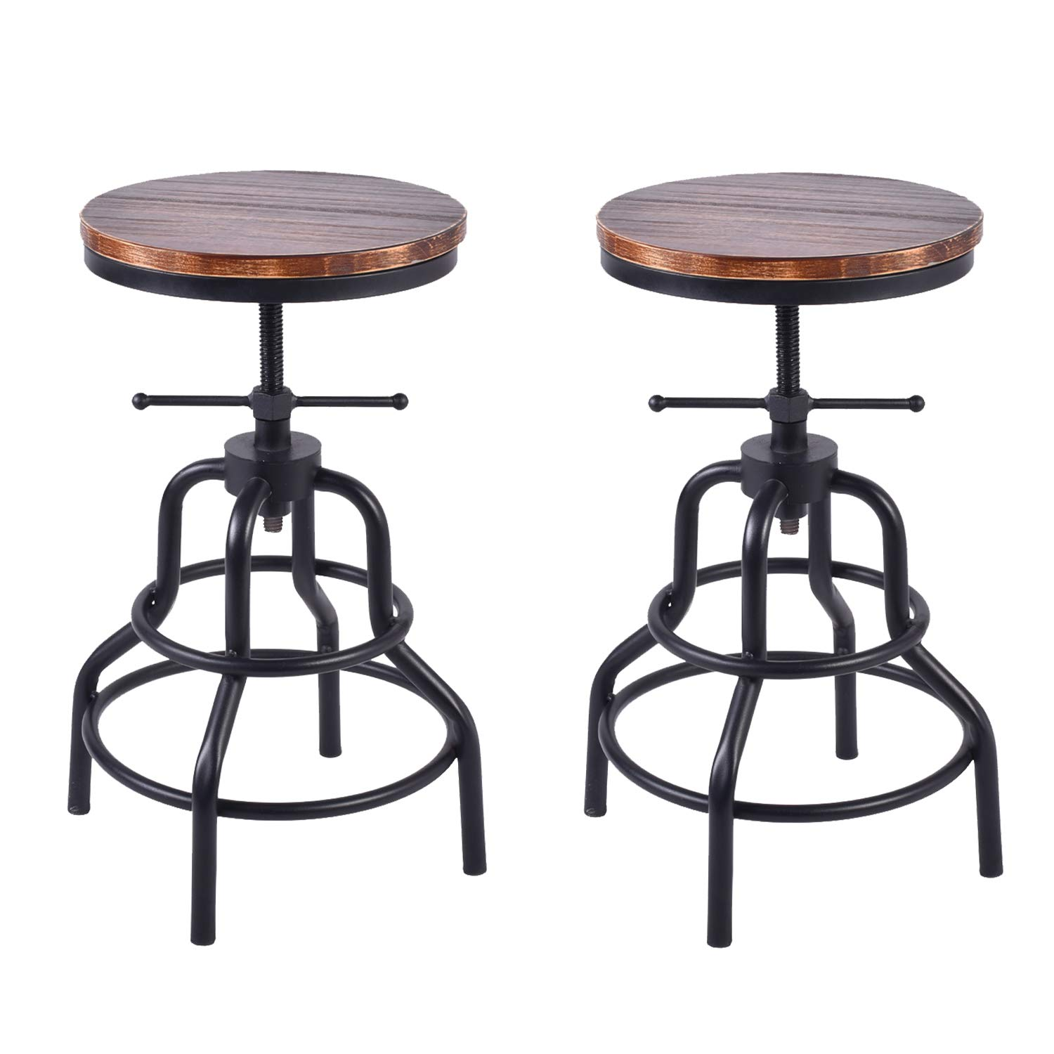Topower American Antique Industrial Design Metal Adjustable Height Bar Stool Chair Kitchen Dining Breakfast Chair Natural Pinewood Industrial Style Set of 2
