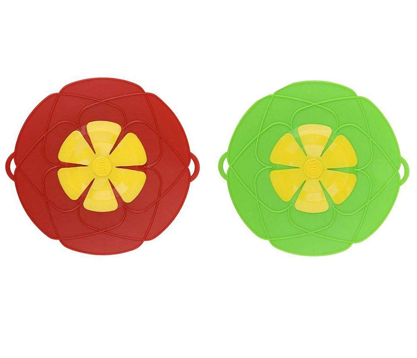 IOTOP 2 X Spill Stopper Lid Cover and Spill Stopper, Boil Over Safeguard,Silicone Spill Stopper Pot Pan Lid Multi-Function Kitchen Tool (Green and Red)