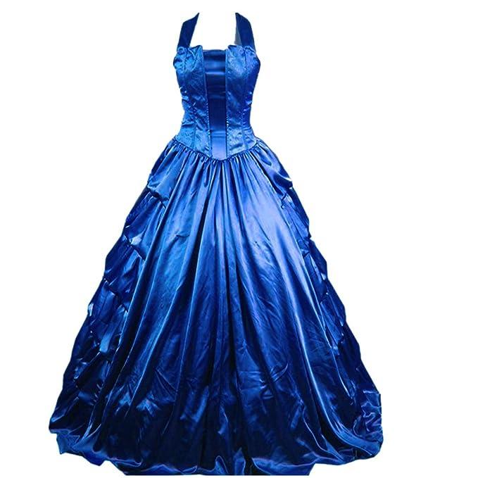 Partiss mujeres sin mangas cabestro volantes luz gótico victoriano vestido Azul azul XS