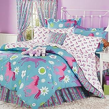 Purple, Blue U0026 Pink Pony Horse Kids Twin Comforter Set (6 Piece Bed In