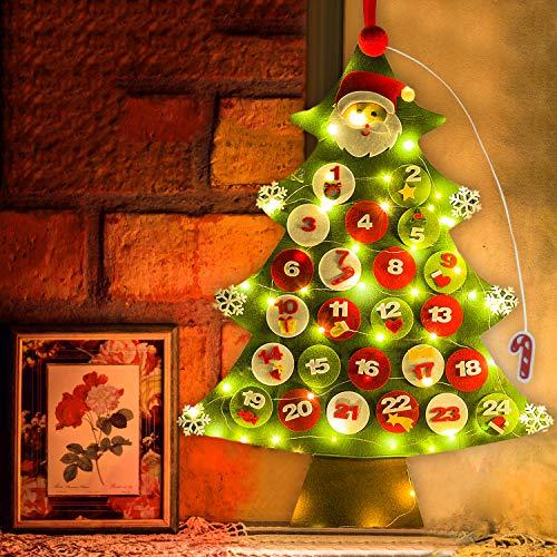Felt Christmas Tree,Outgeek DIY Xmas Advent Calendar Tree 32PCS Wall Hanging Handmade DecorationDouble StitchedDetachable Ornaments for kids New Year Door Wall Hanging Xmas Decoration (50 lights)