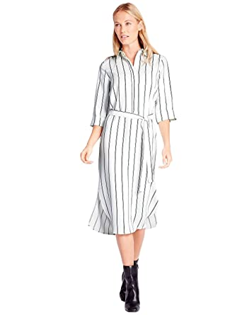 Ex Marks Spencer Womens Ivory White Striped Shirt Dress With Tie