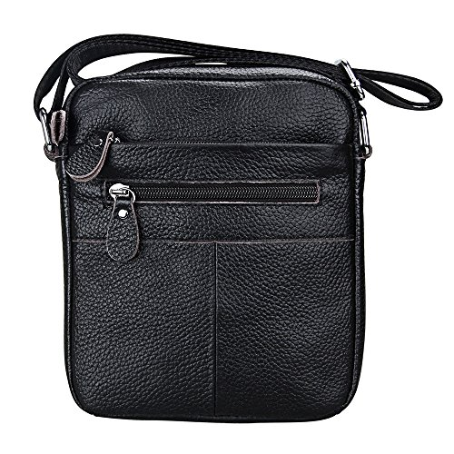 Shoulder Crossbody Hibate Bags Satchel Bag Men's Small Black Messenger Leather affnBtqFH