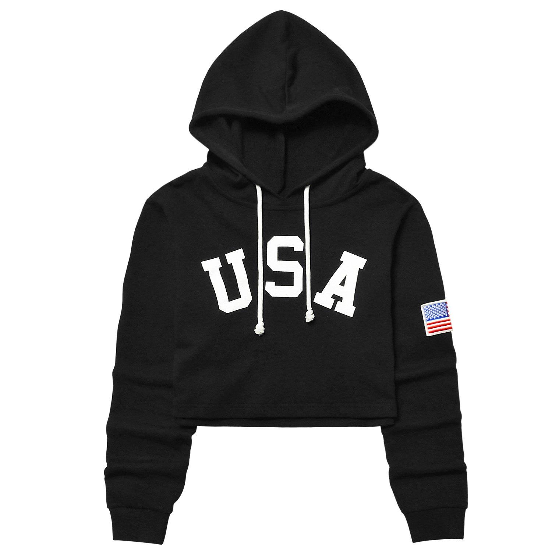Cropped Hoodie Long Sleeve Loose Workout Shirt Sweatshirt,Flag Black Hoody,Medium