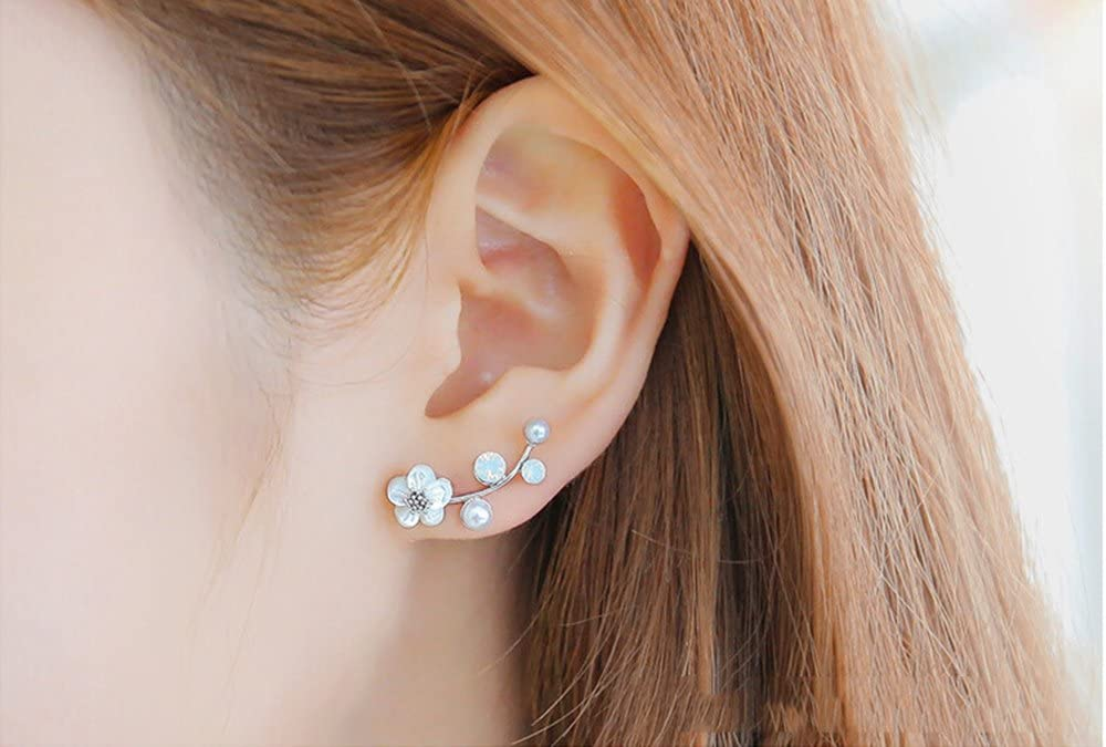 Hustar Womens Shell Flower Faux Crystal Rhinestone Pearl Earrings Charming Party Ear Stud Gold