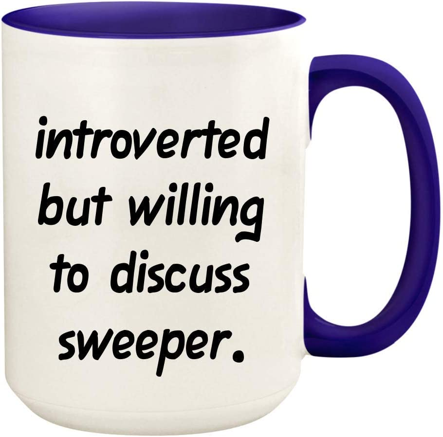 Introverted But Willing To Discuss Sweeper - 15oz Ceramic White Coffee Mug Cup, Deep Purple