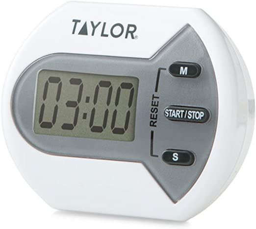 Portable Double Kitchen Ringer Countdown Clock Endorsed By Professional Chefs Taylor Pro Digital Dual Kitchen Timer with Stopwatch Function Plastic//Stainless Steel Grey//Silver 24 Hours