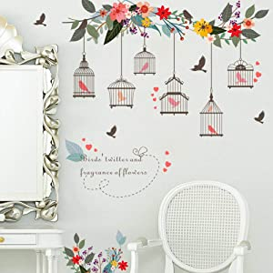 WEWINLE Wall Stickers for Kids, Flower Bird Cage Wall Decal for Bedroom Living Room Kids Rooms Wall Décor Decals(Flower Vine Bird Cage)