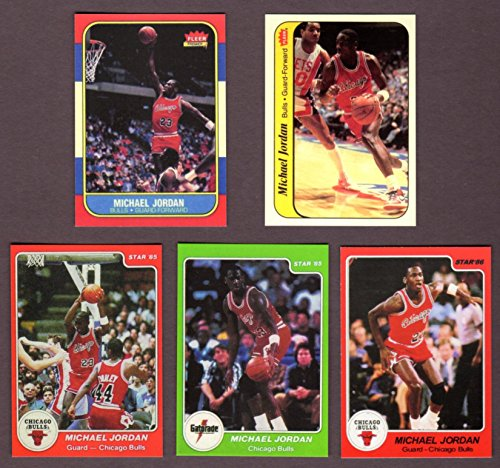 (Michael Jordan (5) Card Reprint Lot Including 1986-87 Fleer Rookie, 1986-87 Fleer Sticker, 1985 and 1986 Star and 1985 Gatorade (Bulls) )