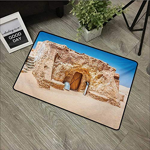 Bathroom mat W35 x L47 INCH Galaxy,One of Abandoned Sets of Movie in Tunisia Desert Phantom Menace Galaxy Themed Image,Brown Blue Easy to Clean, no Deformation, no Fading Non-Slip Door Mat Carpet