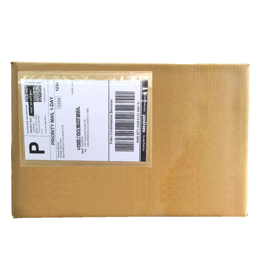 6'' x 9'' Clear Adhesive Top Loading Packing List Shipping Label Envelopes (100 Pack)