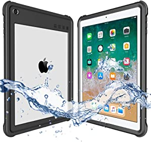 ShellBox Compatible for 2017/2018 Waterproof Case iPad 9.7 inch, iPad 6th Generation Shockproof Case Water Resistant IP68 360 Degree All Round Protective Ultra Slim Thin Dust/Snow Proof with Lanyard