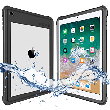 new concept f2a76 64f7d ShellBox Compatible for 2017/2018 Waterproof Case iPad 9.7 inch, iPad 6th  Generation Shockproof Case Water Resistant IP68 360 Degree All Round ...