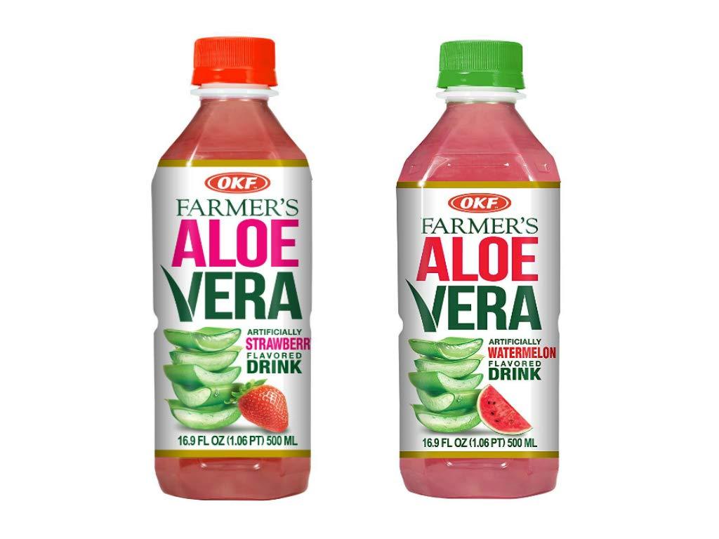 OKF Farmer's Aloe Vera Drink, Strawberry and Watermelon, 16.9 Fluid Ounce (Pack of 20 each)