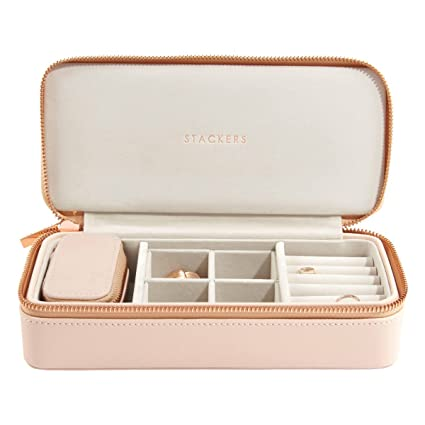 Stackers Blush Pink Large Petite Travel Jewellery Box With Rose Gold Fittings