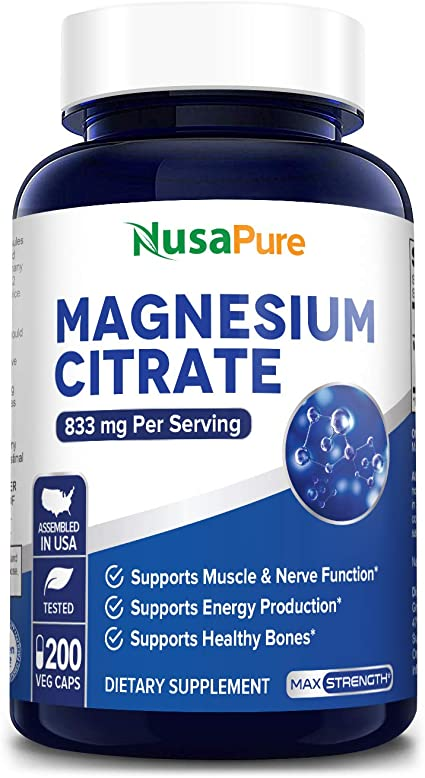 Amazon.com: Magnesium Citrate 833mg Supplement - 200 Veggie Capsules  (Vegetarian, Non-GMO & Gluten Free) Max Strength - Support Function of  Muscles, Heart & Bones, Energy, Helps Calm Nerves: Health & Personal Care