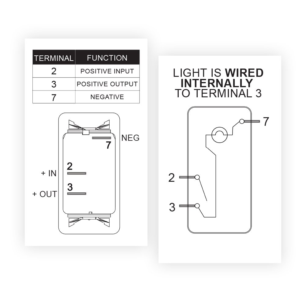 Carling Rocker Switch Illuminated Red V1d1 Contura Spst Wiring Diagram Ii 3 Terminals Sealed Waterproof Dusproof Sports Outdoors