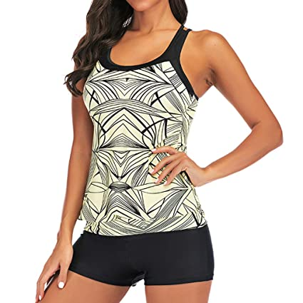 226a23dc825 Image Unavailable. Image not available for. Color: Women Racerback Tankini  Swimsuit Set - Ladies Round Neck ...