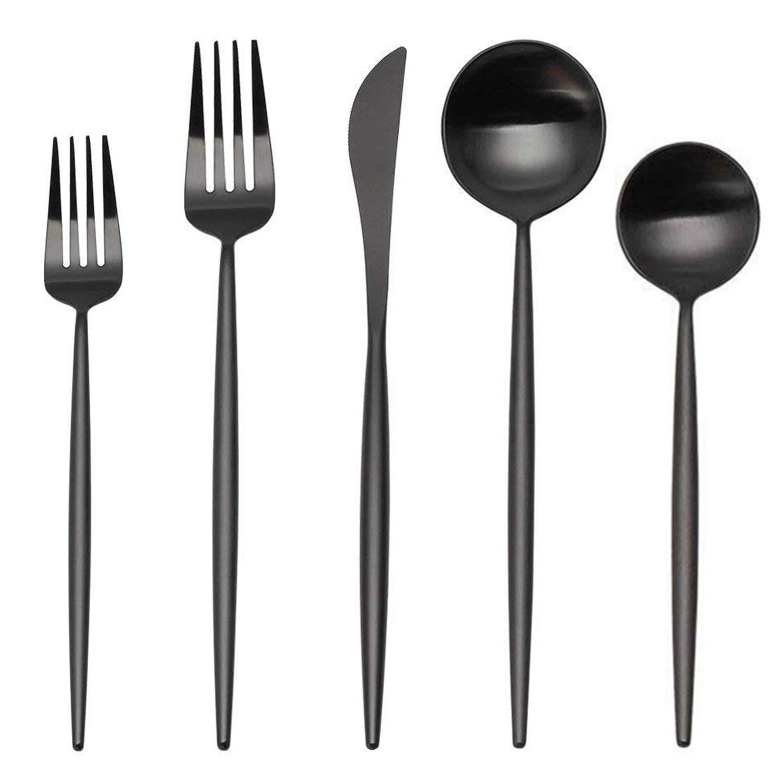 Matte Silverware Set, SHARECOOK 20-Piece Stainless Steel Satin Finish Flatware Set Service for 4, Kitchen Utensil Set, Tableware Cutlery Set for Home and Restaurant (Matte Black 20P, 20-Piece)