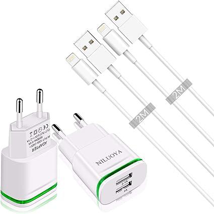 Niluoya Cargador Phone, 4-Pack 2.1A/5V 2M Cable y Dos Enchufe USB Movil de