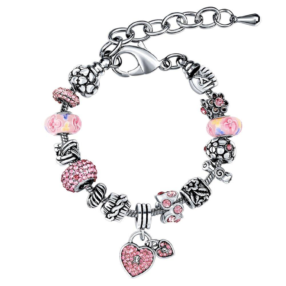 Bracelet Femme MANBARA Bracelets de Charme à Coeur Double Femmes Avec Perles Strass Couleur Rose 500CL