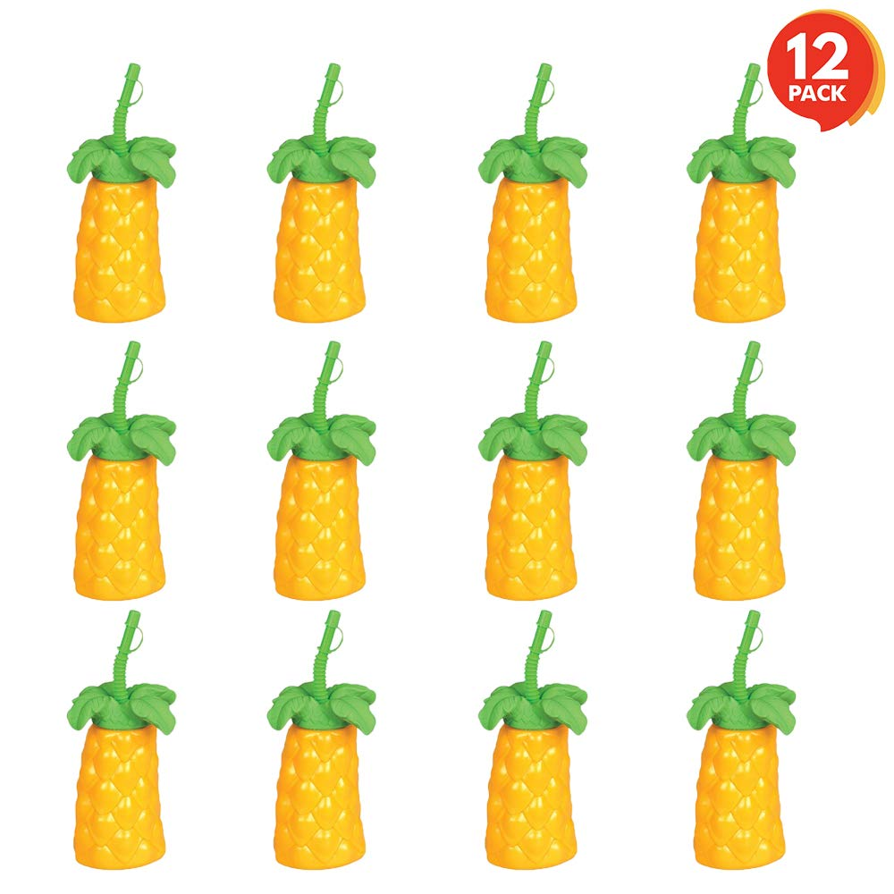 ArtCreativity Palm Tree Plastic Cups Set (Pack of 12) | 20 oz. Big | Includes Screw-on Sipper | Spectacular Summer Beach Toys & Party Favors | Amazing Gift for Everyone