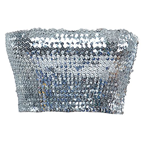 (Anna-Kaci Womens Sequin Shiny Strapless Elastic Bandeau Party Tube Top,Silver,Small/Medium)