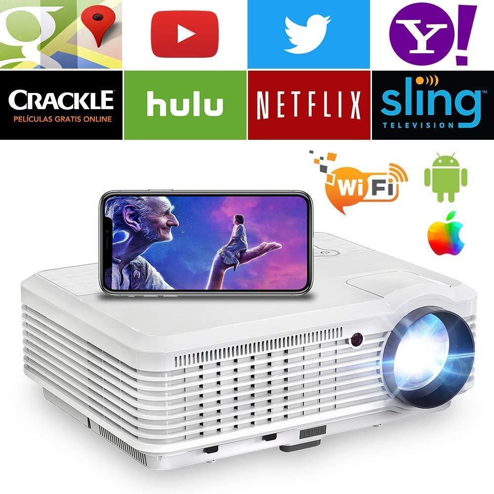 プロジェクター 4600ルーメン ワイヤレス Wi-Fi対応 無線 高画質 1080PフルHD対応 スピーカー内蔵 1920x1200最大解像度 ズーム機能 台形補正 HDMI/AV/USB/VGA対応 スマホ/パソコン/PS3/PS4/ゲーム機/DVDプレヤーなど接続可 ホームシアター 映画 PSE認証済 B07P8ZZD42 プロジェクター4600ルーメン6500:1コントラスト比 1080PフルHD