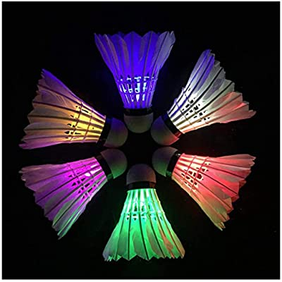 Wenjuan 6Pcs LED Badminton Birdies, LED Colourful Shuttlecock Dark Night Glowing Birdies Lighting Outdoor Indoor Sport Activities (White): Toys & Games