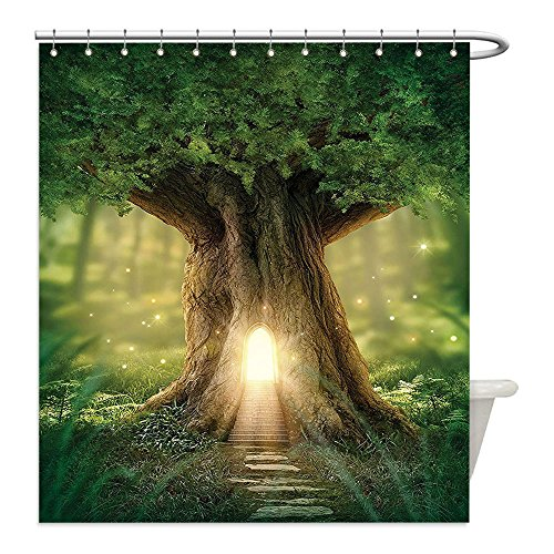 [Liguo88 Custom Waterproof Bathroom Shower Curtain Polyester Mystic Fairy Tree of Life Enchanted Forest Mystical Lights Digital Printed Decor Green Yellow Brown Decorative bathroom] (Mystic Fairy Costume)
