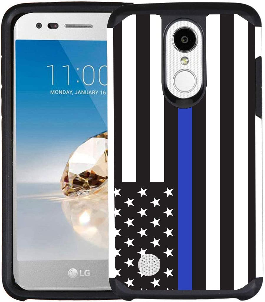 LG Aristo Case, LG Fortune, Phoenix 3, Rebel 2, K4 2017, K8 2017 Case, Dual Layer Shock Proof Bumper Protective Phone Cover - American Flag Thin Blue Line