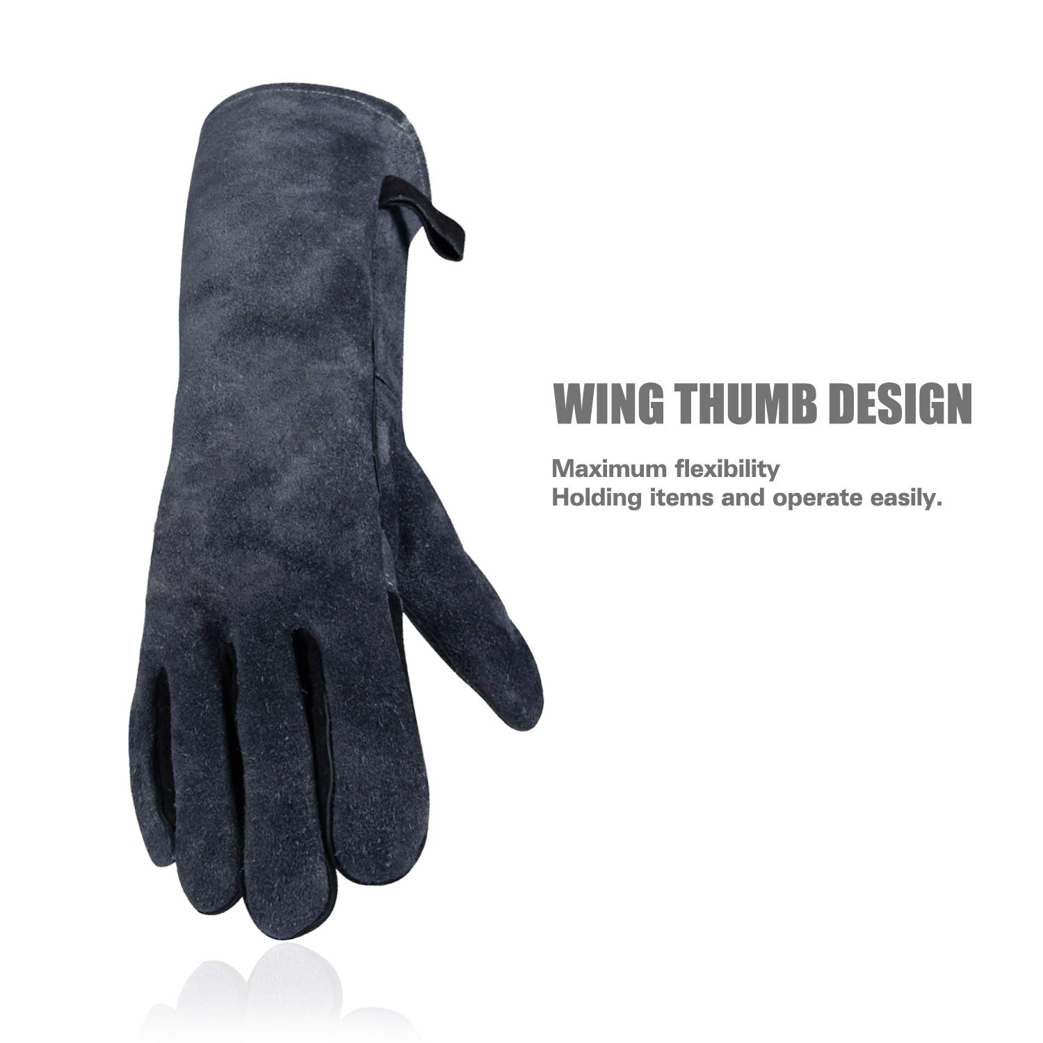 White and Blue Fantaplus BBQ//Welding Gloves Heat Resistant Wear Resistant Lined Leather and Fireproof Stitching Multifunction For Welders//Fireplace//BBQ//Gardening//Grilling//Stove