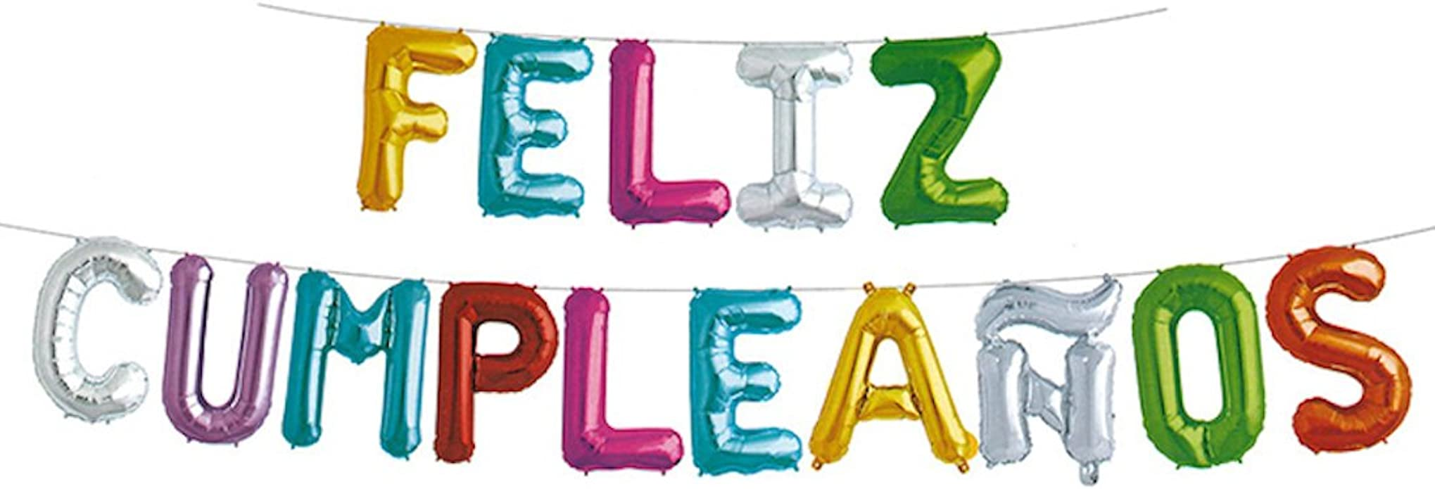 GSC Moda Feliz Cumpleanos Happy Birthday Balloons Banner, 16 inches Foil Balloons Letters for Birthday Party Decoration