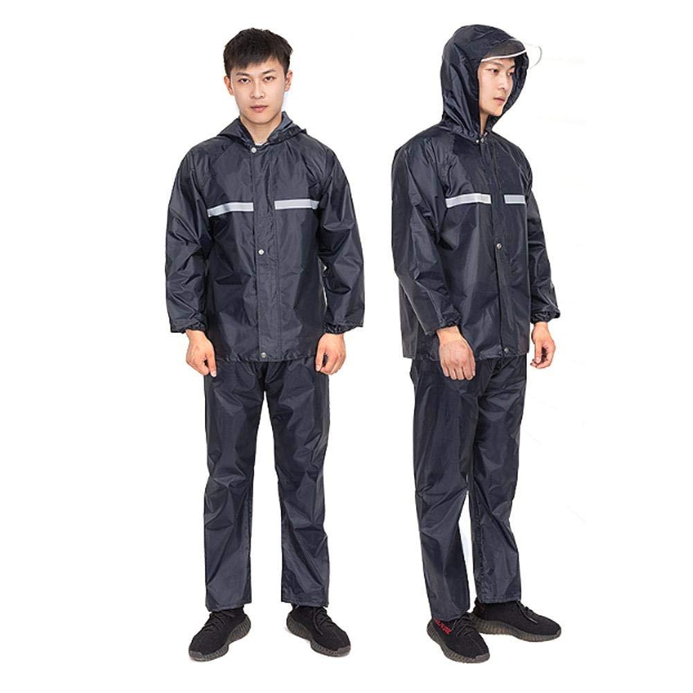 Duokon Copriscarpe da pioggia , Tuta impermeabile antivento impermeabile in tessuto Oxford Cappotto antipioggia da lavoro a strisce riflettenti XXL