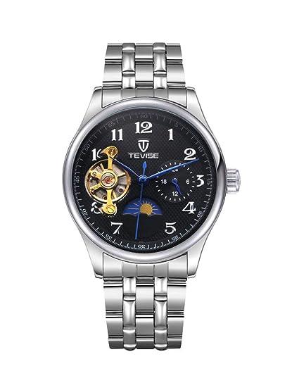 Isa TEVISE Hombres Reloj Moon Phase Automático Relojes Tourbillon Mecánicos Hombre Impermeable Correa de Acero Inoxidable Reloj de Negocios 8466 ...