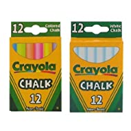 Crayola Chalk White & Colored 12-Pack (1 Pack of White & 1 Pack