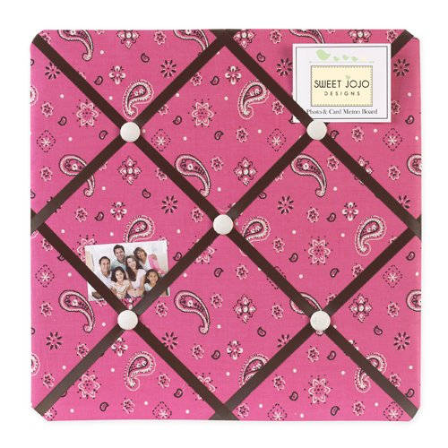 Sweet Jojo Designs Cowgirl Pink Bandana Print Fabric Memory/Memo Photo Bulletin - Fabric Cowgirl