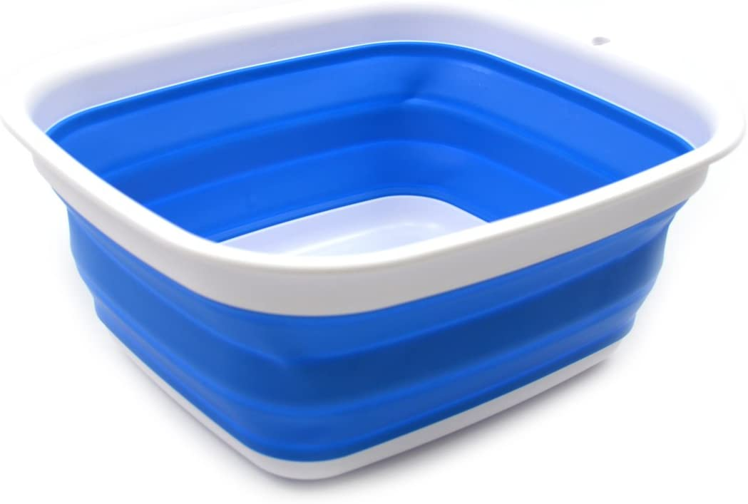 SAMMART 7.7L (2 Gallon) Collapsible Tub - Foldable Dish Tub - Portable Washing Basin - Space Saving Plastic Washtub (Blue, S)